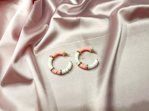 Pink and White Bead Hoops