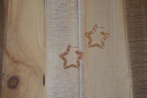 Gold Speckle Star Earrings