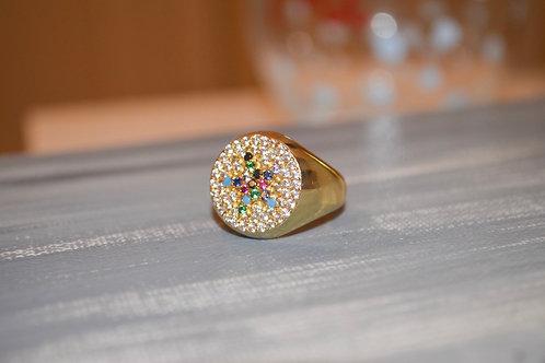 Rainbow Circle Star Ring