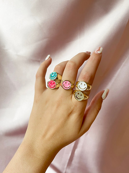 Colored Smiley Rings