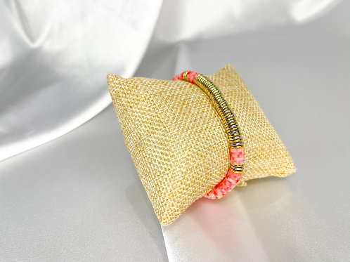 Pink and Gold Heishi Bead Bracelet