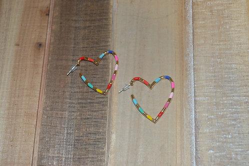 Rainbow Heart Hoops