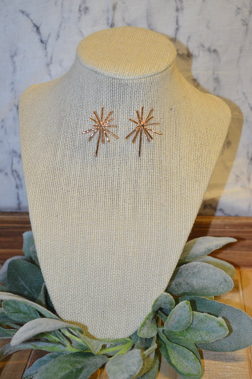 Bursting Star Earrings - Gold