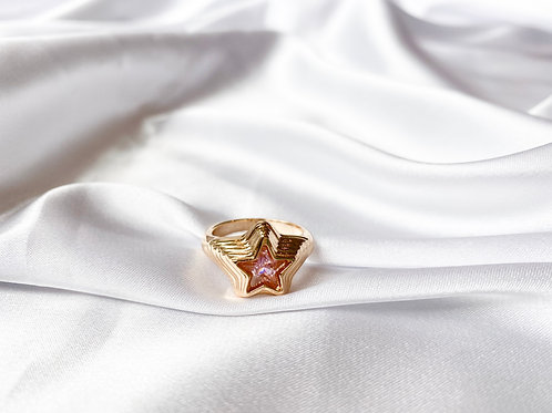 Pink Clear Star Ring
