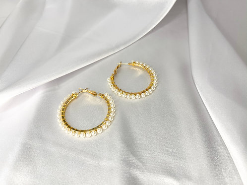 Pearl Studded Hoops