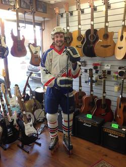 Matt in his old hockey gear