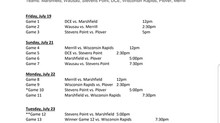 2019 AAA Region 2 Tuesday Schedule