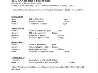 2019 AAA Region 2 Tuesday Schedule