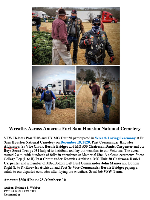 VFW Post 7108 and MG Unit 30 Wreaths Acr