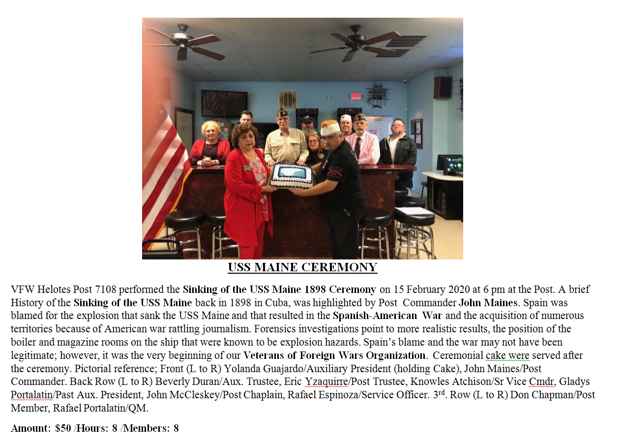 Remember the Maine 2020 VFW Post 7108