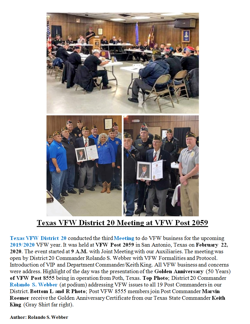 Texas VFW District 20 Meeting at VFW Pos