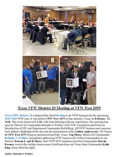 Texas VFW District 20 Meeting at VFW Pos