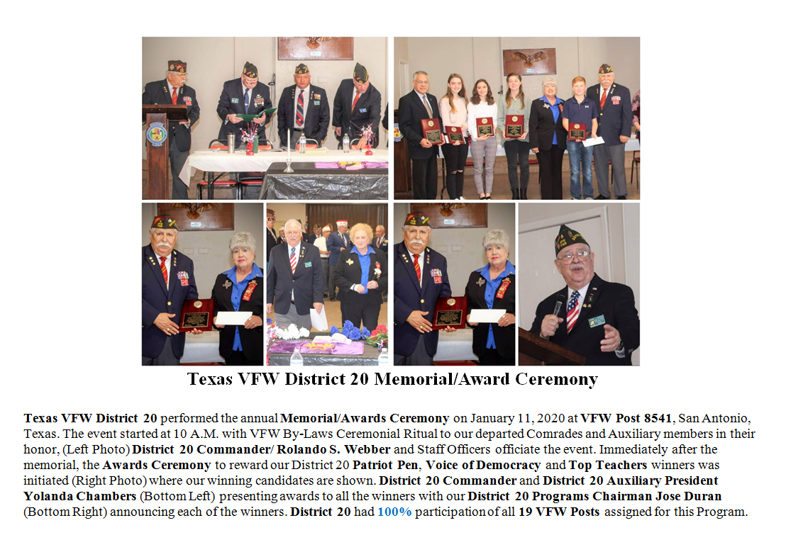 2020 Texas VFW District 20 Memorial and