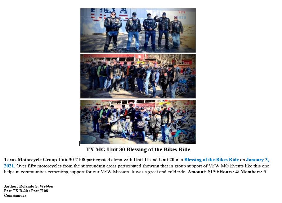 VFWMGTX Unit 30-7108 2020 Blessing of th