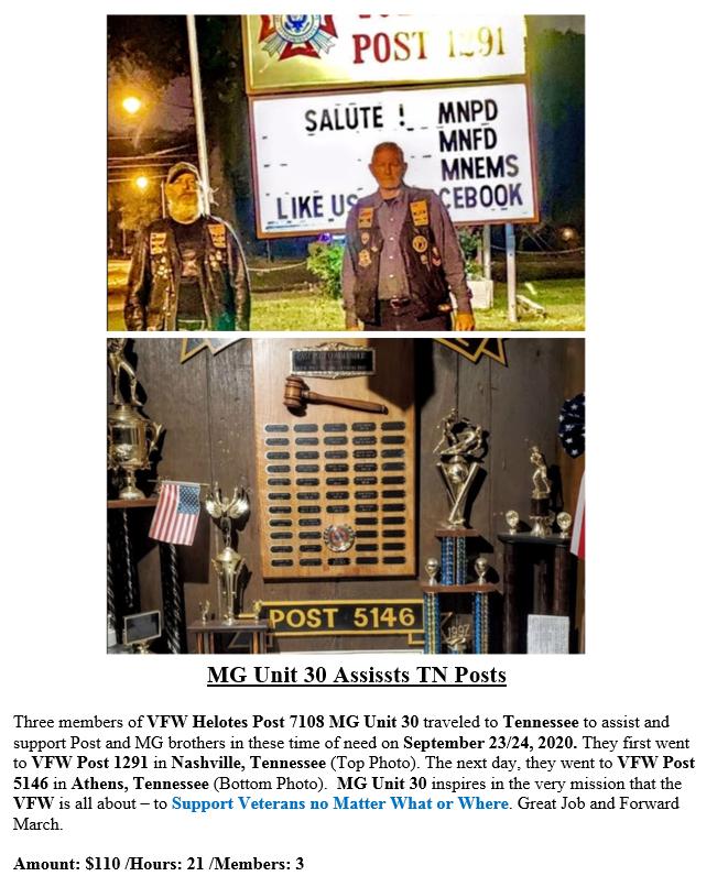 VFW Post 7108 MG Unit 30 Assist TN Posts