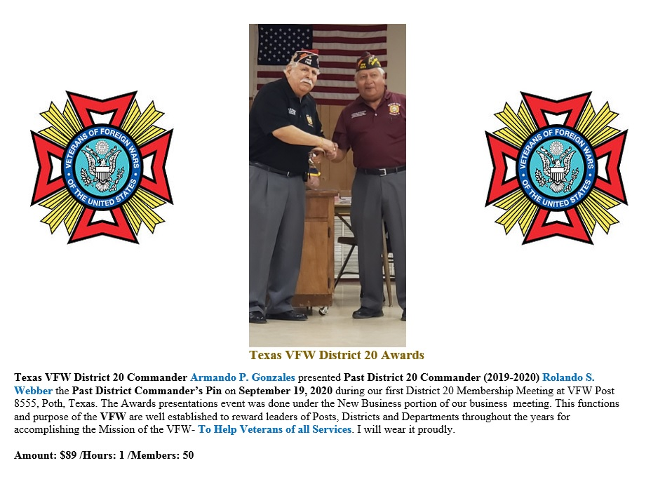 Texas VFW District 20 Awards Past Distri