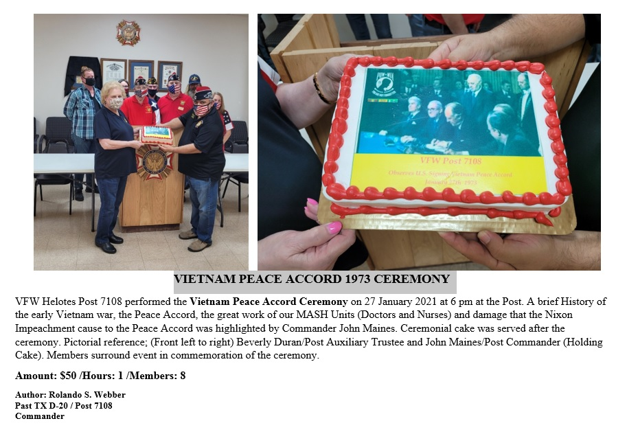VFW Post 7108 2020 Vietnam Peace Accord