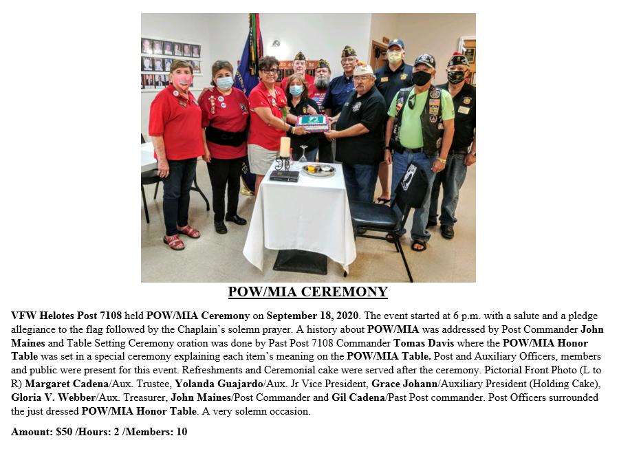 VFW Post 7108 POW-MIA Ceremony