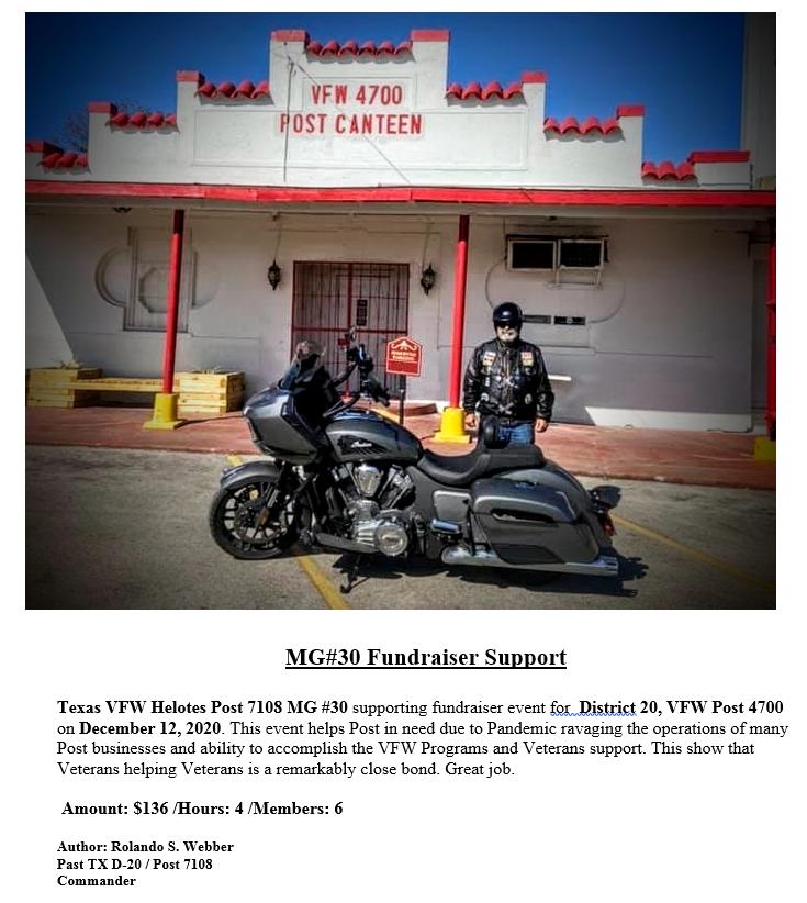 VFW Post 7108 MG Unit 30 Fundraiser Supp