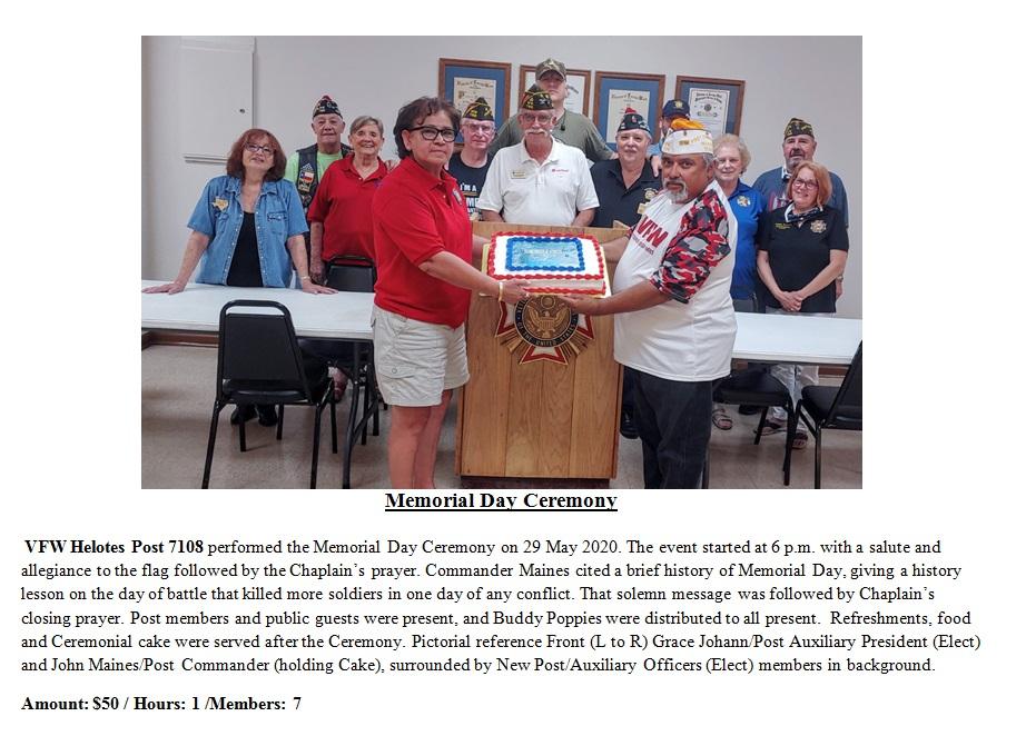 VFW Post 7108 Memorial Day Ceremony