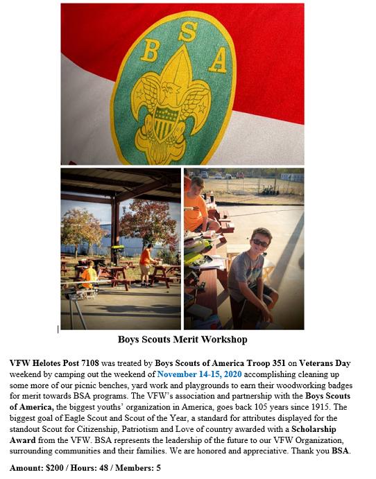 VFW Post 7108 Boy Scouts Merit Workshop.
