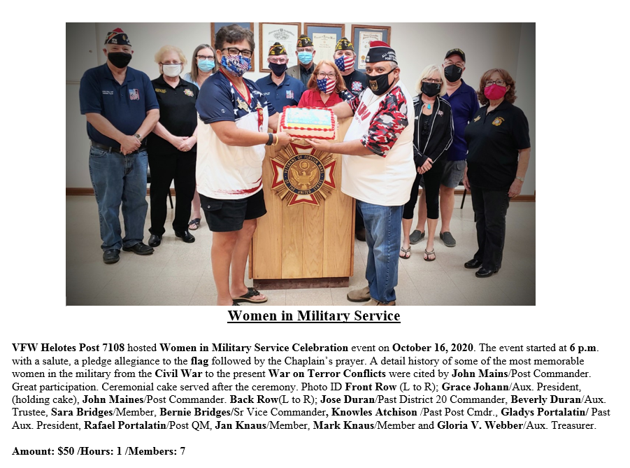 VFW Post 7108 Women in Military Service.