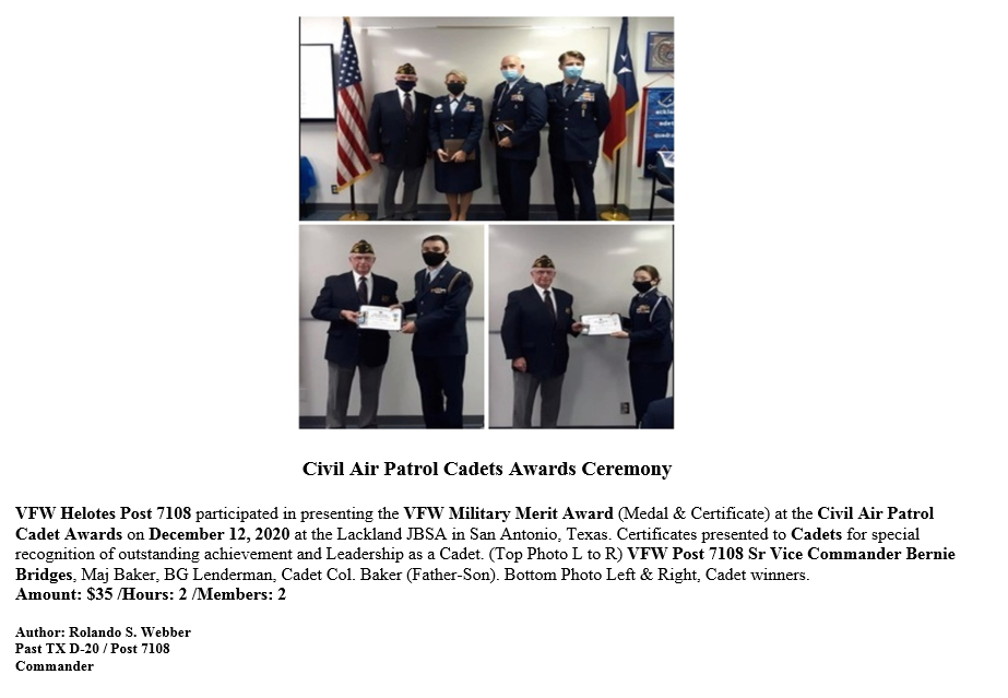 VFW Post 7108 2020 Civil Air Patrol Cade