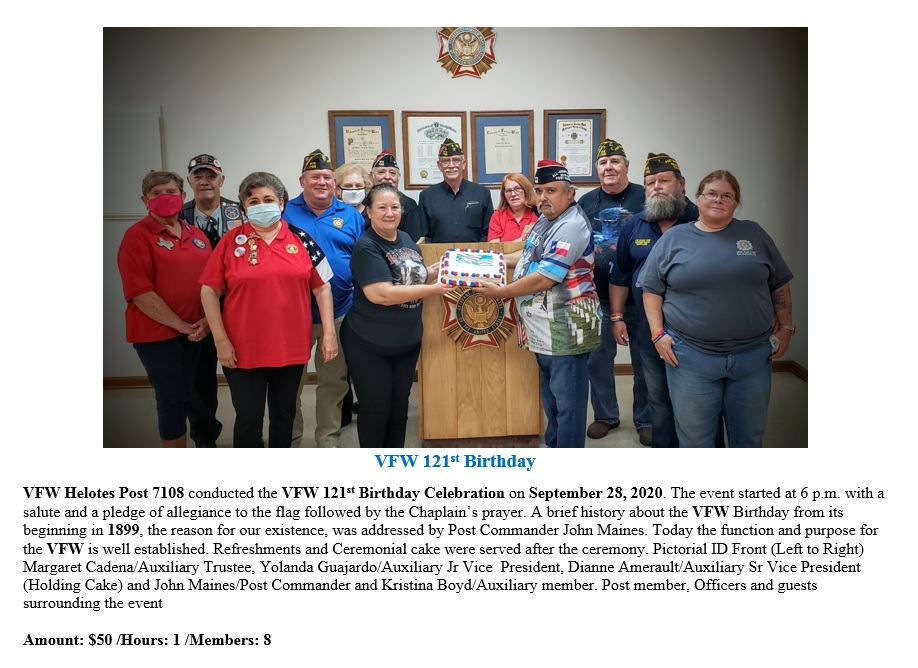 VFW Post 7108 VFW 121st Birthday