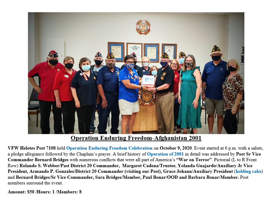 VFW Post 7108 Operation Enduring Freedom