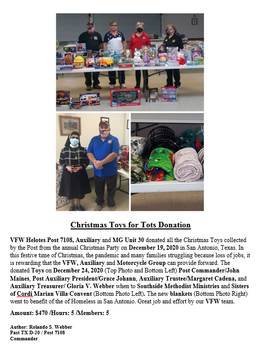 VFW Post 7108 2020 Christmas Toys for To