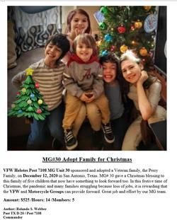VFW Post 7108 MG Unit 30 Adopt Family fo