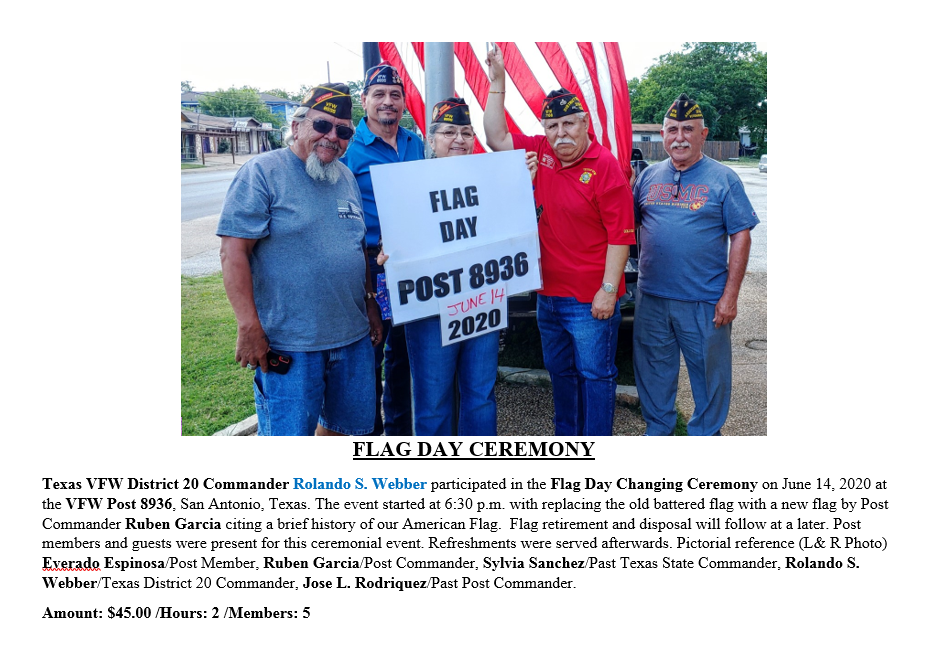 VFW District 20 Flag Ceremony