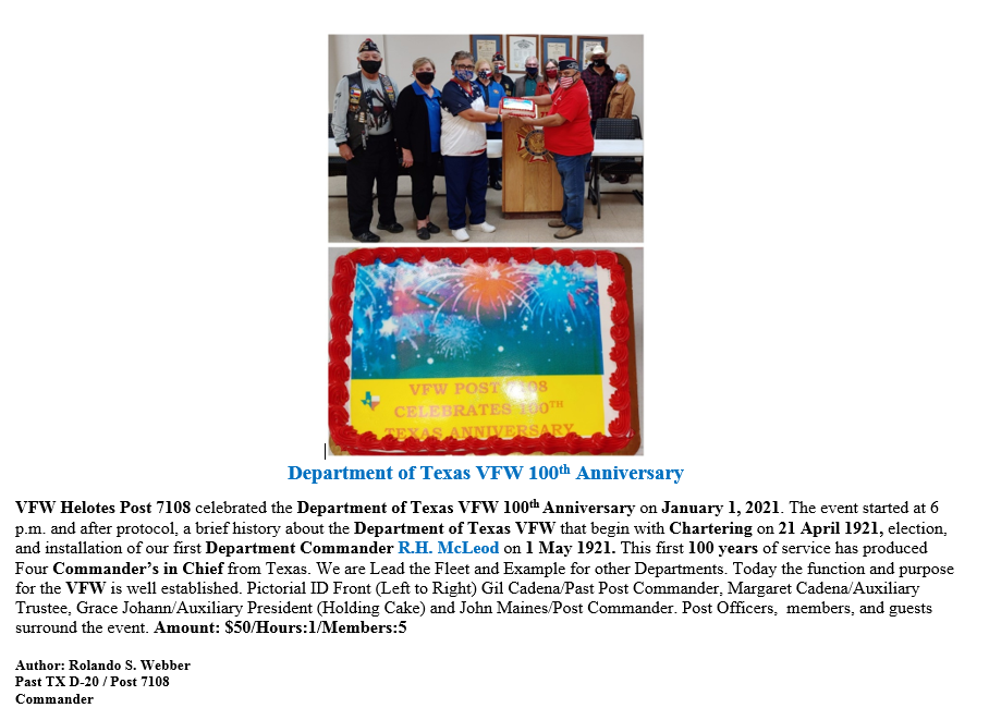 VFW Post 7108 2020 Department of Texas 1