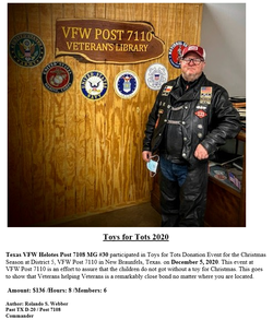 VFW Post 7108 MG Unit 30 Toys for Tots A