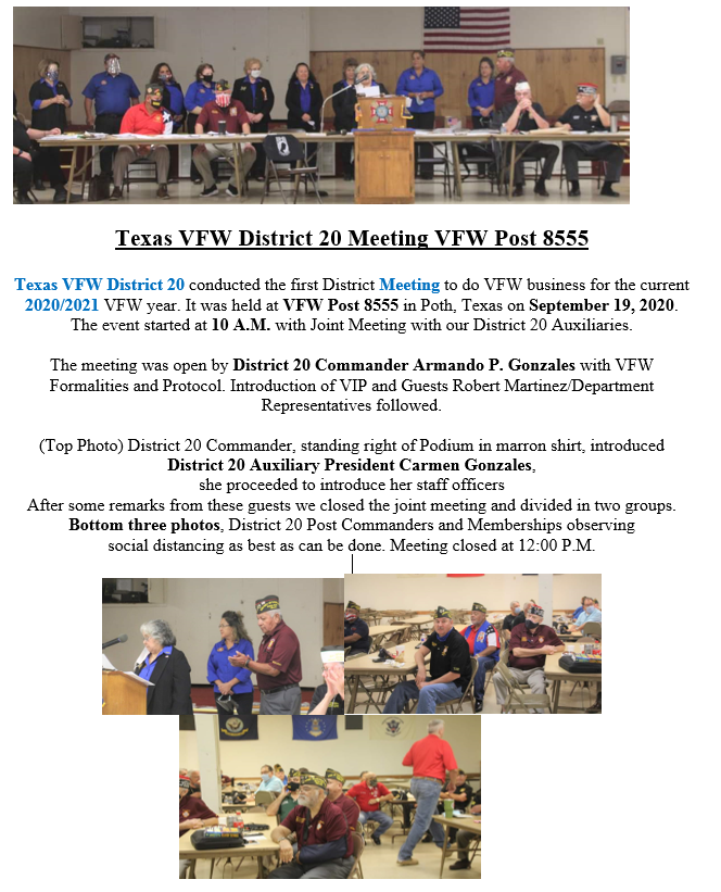 District 20 Sep 19th Meeting