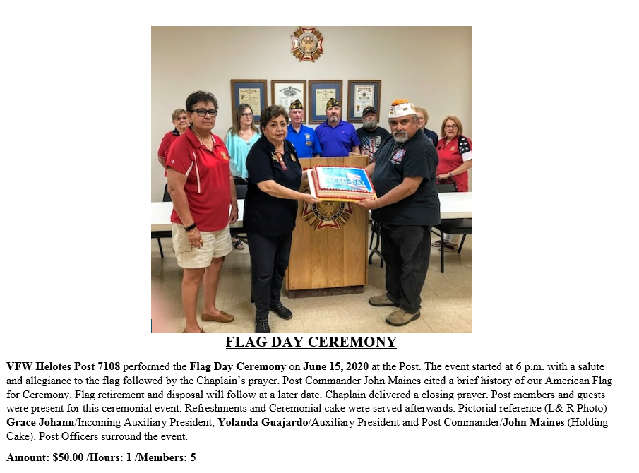 VFW Post 7108 Flag Day Ceremony