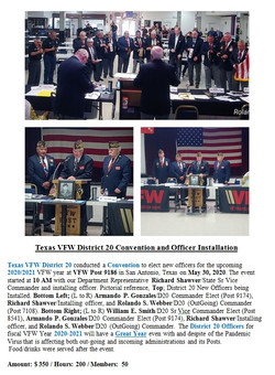 Texas VFW District 20 Convention adn Off