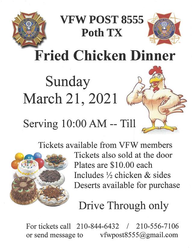 VFW Post 8555 Fried Chicken Dinner Drive