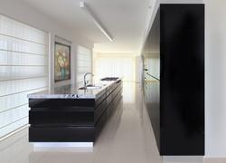 מטבח בצבע שחור מבריק