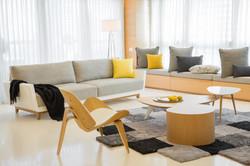 חדר מגורים מבט לכוון הספה