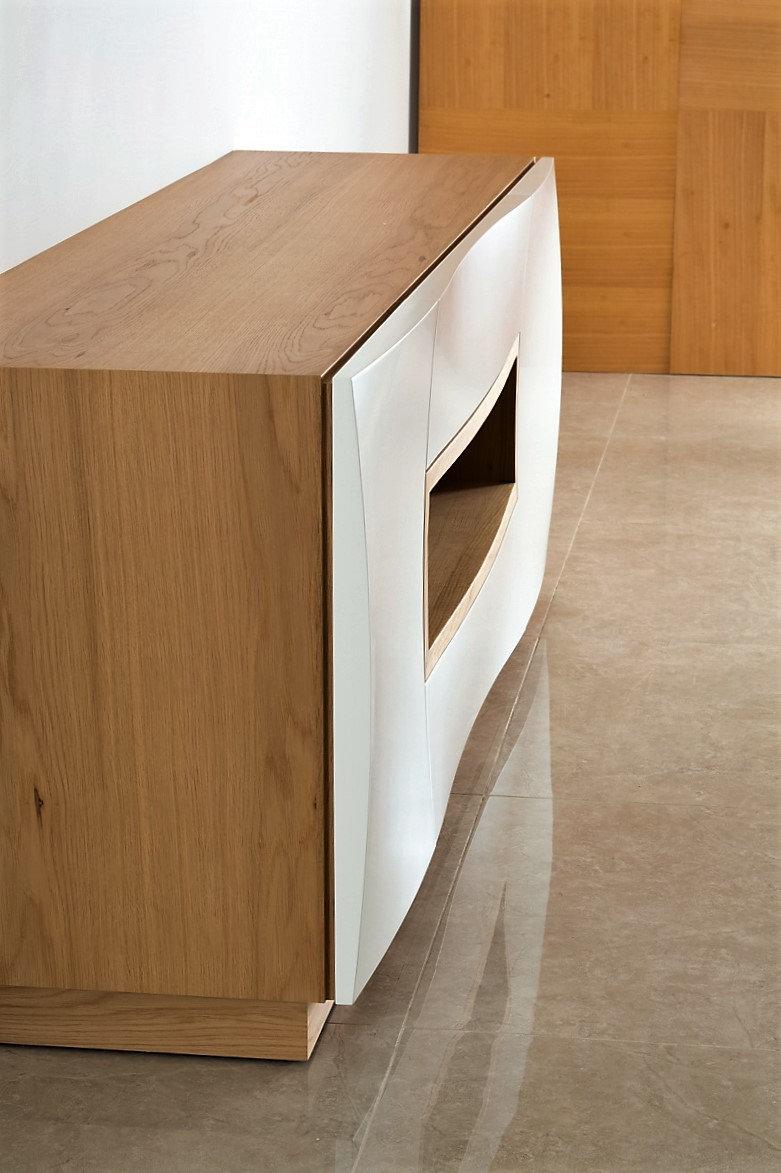 מזנון מעוצב לסלון לבן ואלון - מזנונים מיוחדים