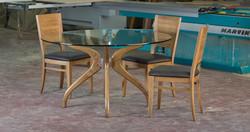 איריס - שולחן עגול זכוכית ועץ