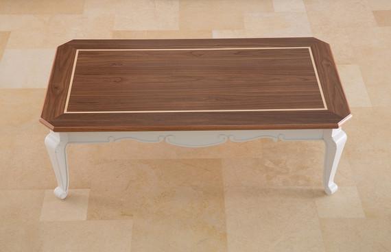 שולחן סלון לבן ועץ