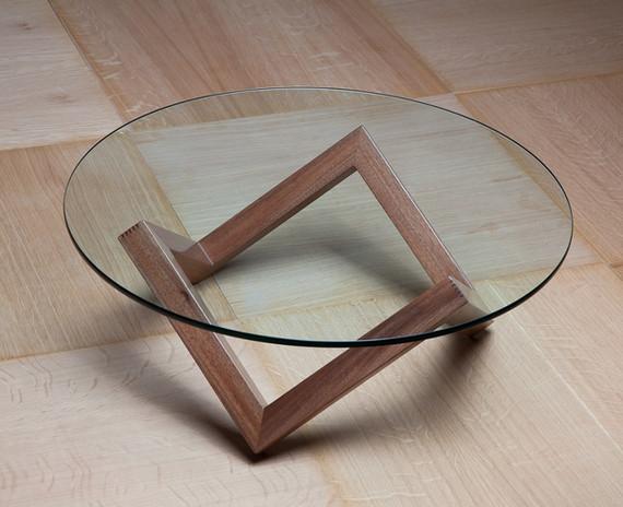 זיגזג שולחן סלון זכוכית ועץ