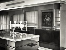 glossy black kitchen