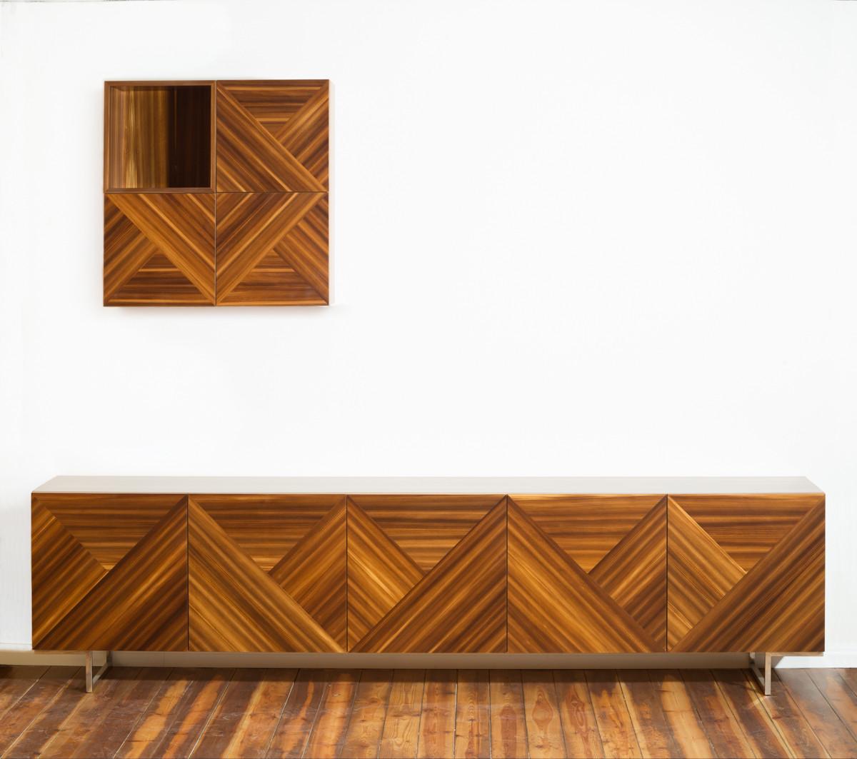 מזנון לסלון מעוצב בפורניר טבעי