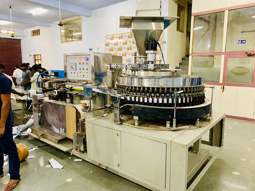 Trial (empty pouches) run of Olialia Vazir PanMasala packing machine in Faridabad factory