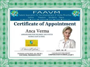 Anca Verma appointed the 'Ambassador for Children and Youth