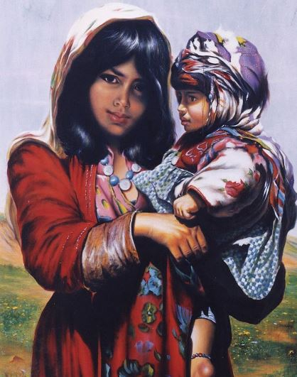 © Ali Pourahmad, Oil painting 2001 girl and boy
