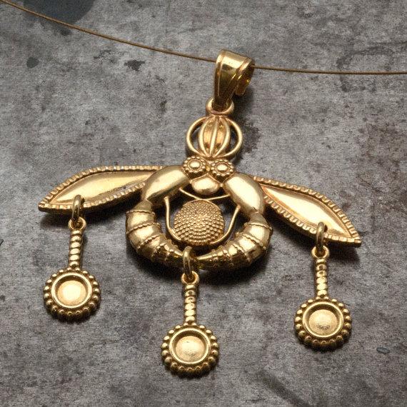 Gold Greek Bees Pendant